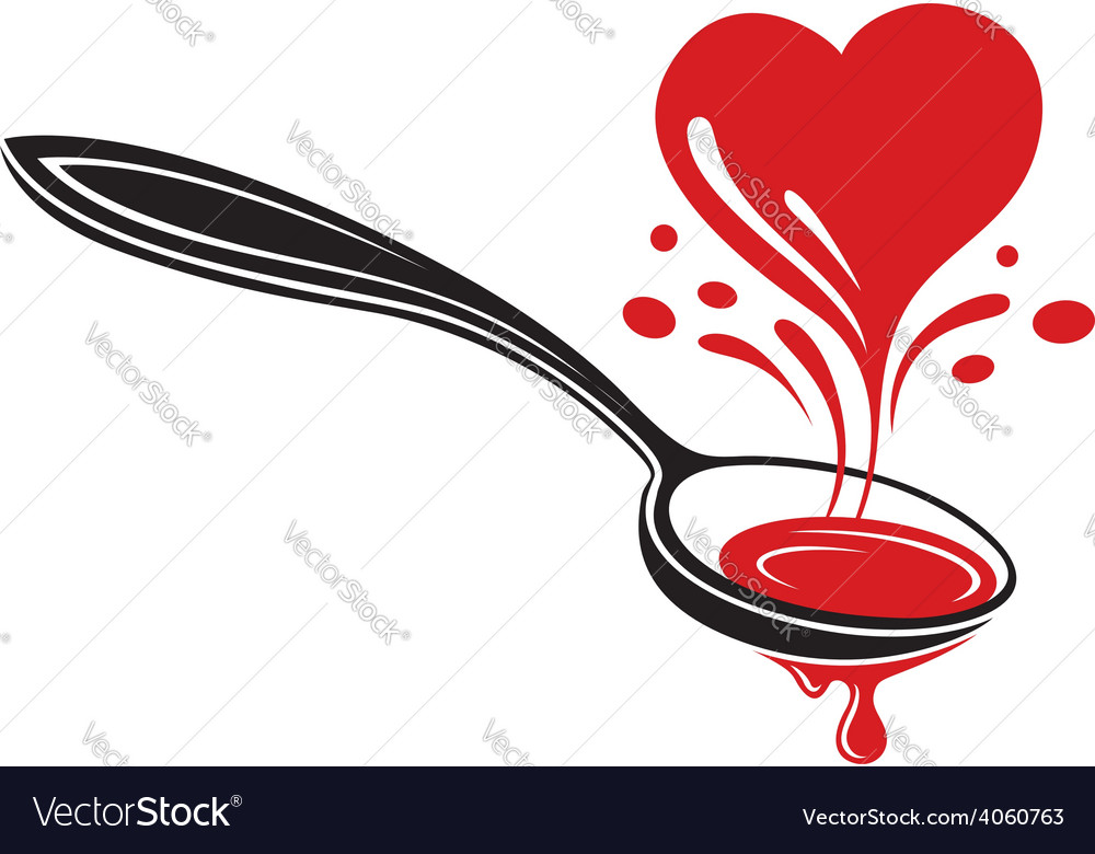 Spoon and heart vector | Price: 1 Credit (USD $1)