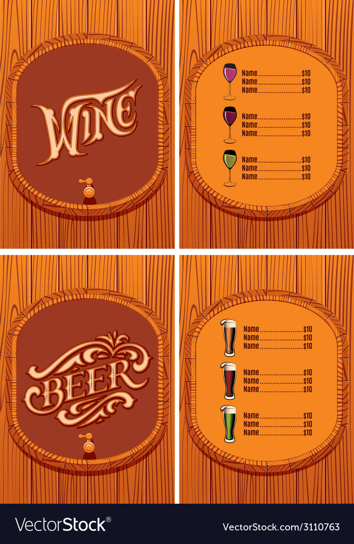 Template for the cover of the beer and wine menu vector | Price: 1 Credit (USD $1)