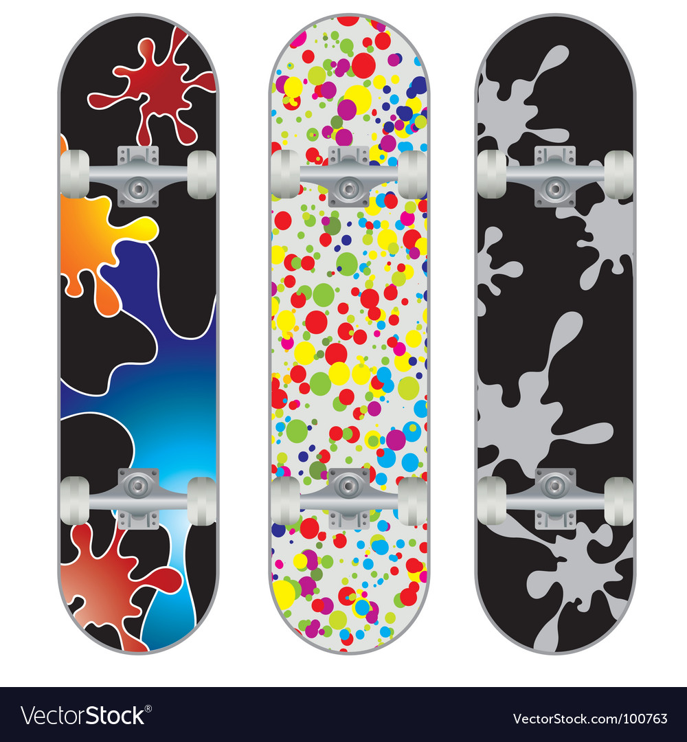 Three skateboard designs vector | Price: 1 Credit (USD $1)