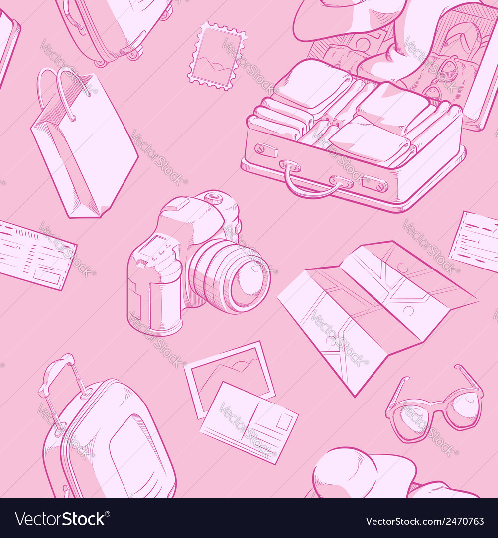 Travel object sketch seamless pattern vector | Price: 1 Credit (USD $1)