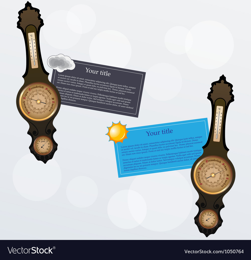 Banners with old style barometer vector | Price: 1 Credit (USD $1)