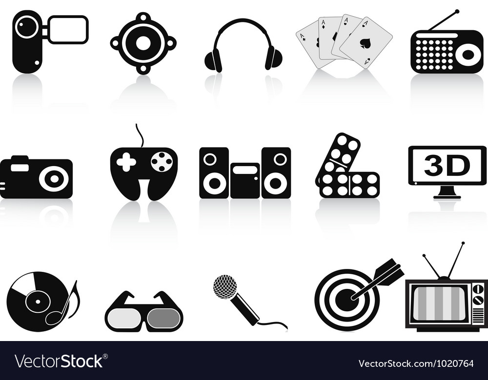 Black home entertainment icons set vector | Price: 1 Credit (USD $1)