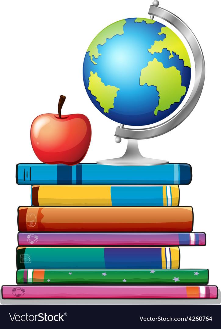 Books and globe vector | Price: 1 Credit (USD $1)