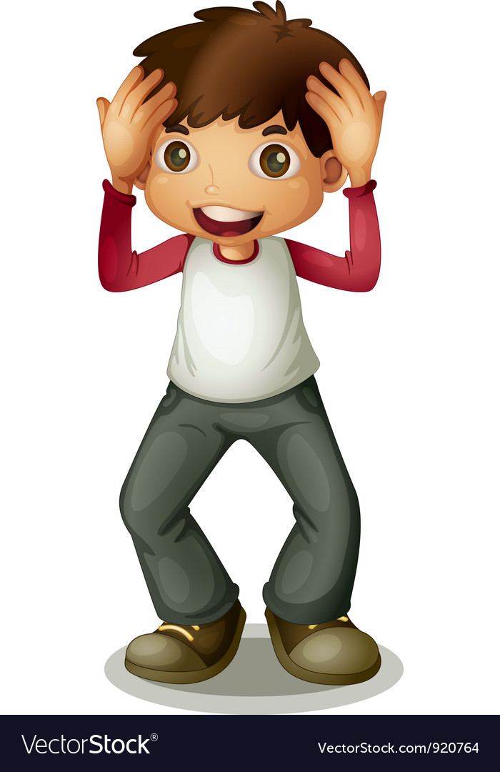 Boy holding head vector | Price: 3 Credit (USD $3)