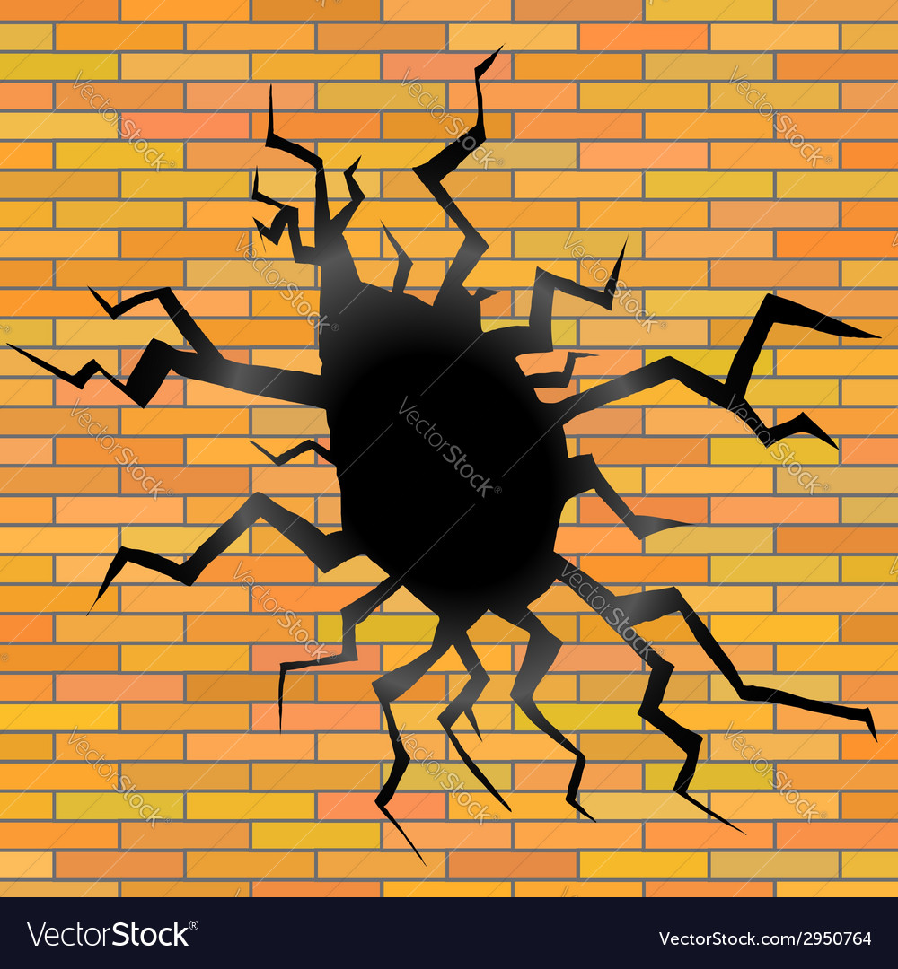 Crack on a brick background vector | Price: 1 Credit (USD $1)