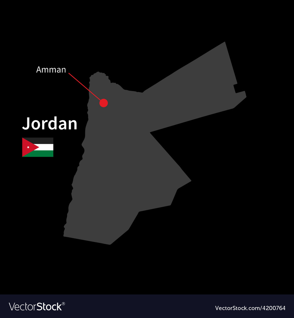 Detailed map of jordan and capital city amman with vector | Price: 1 Credit (USD $1)