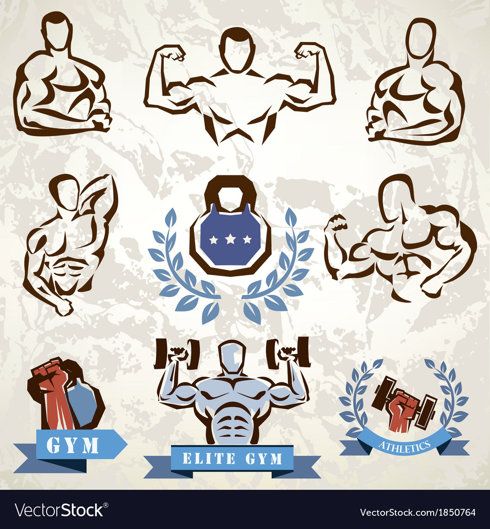 Gym fitness emblems collection vector | Price: 1 Credit (USD $1)