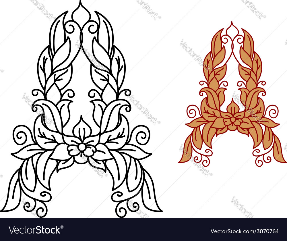 Letter a in floral and foliate font vector | Price: 1 Credit (USD $1)