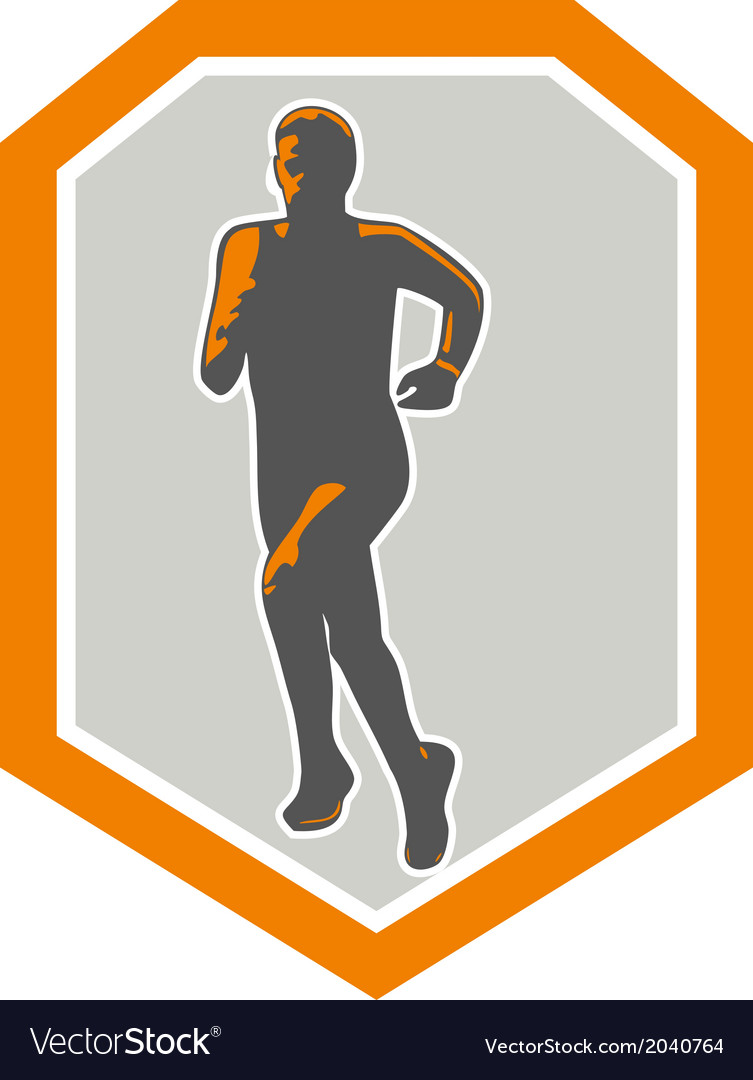 Marathon runner running front shield retro vector | Price: 1 Credit (USD $1)