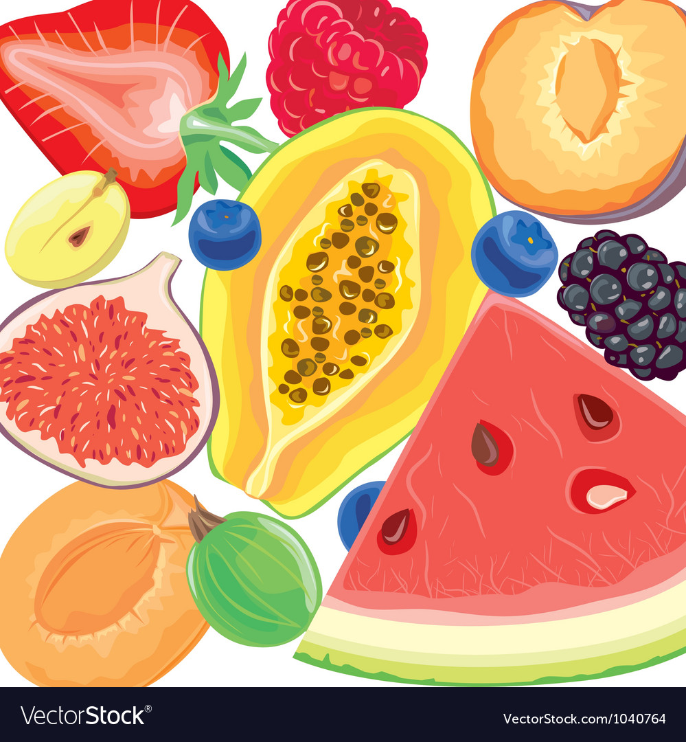 Mix berries and tropical fruits vector | Price: 3 Credit (USD $3)