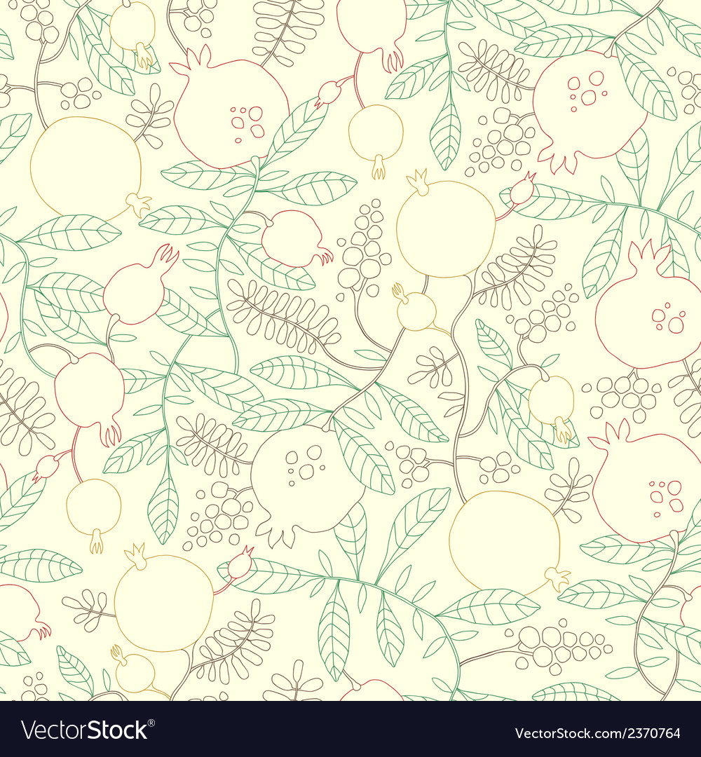 Pattern of linear pomegranate and apple tree vector | Price: 1 Credit (USD $1)