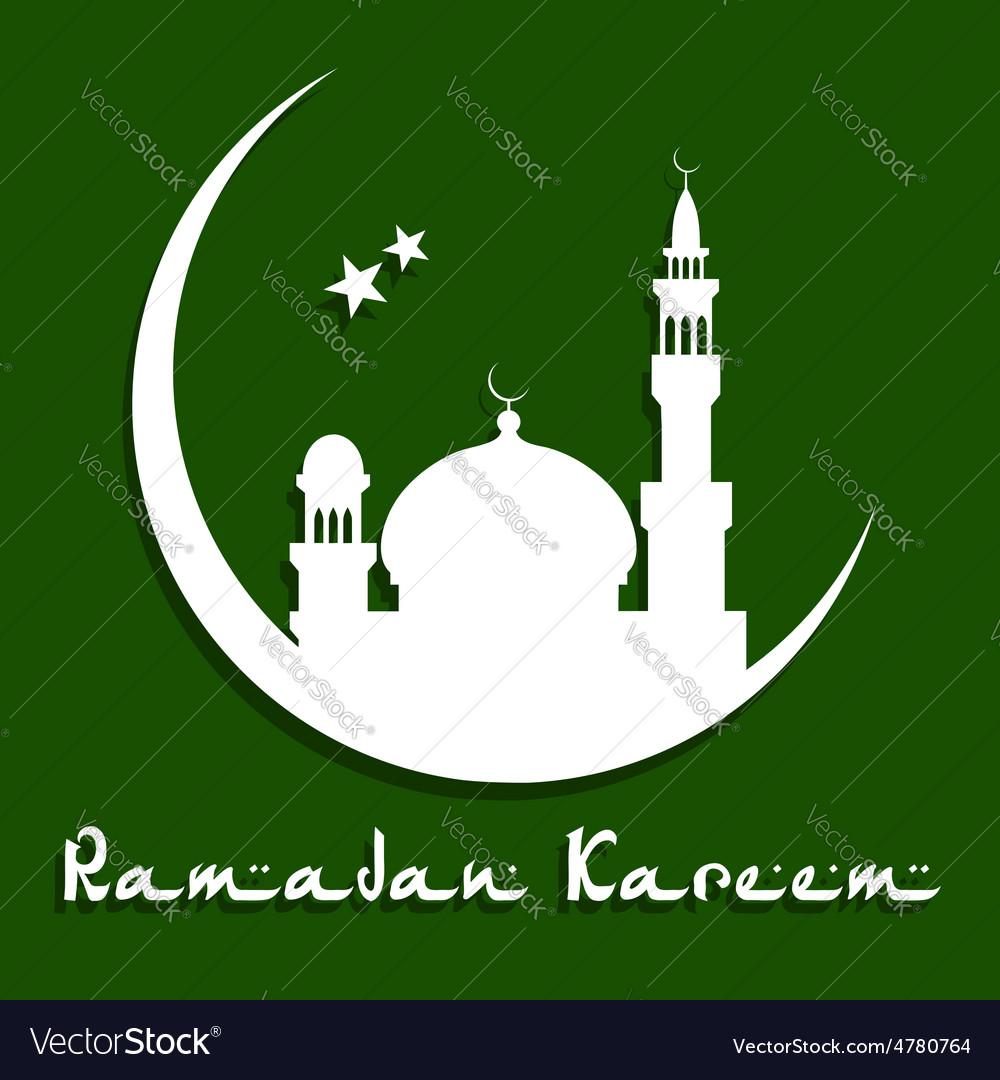 Ramadan kareem greeting card with mosque vector | Price: 1 Credit (USD $1)