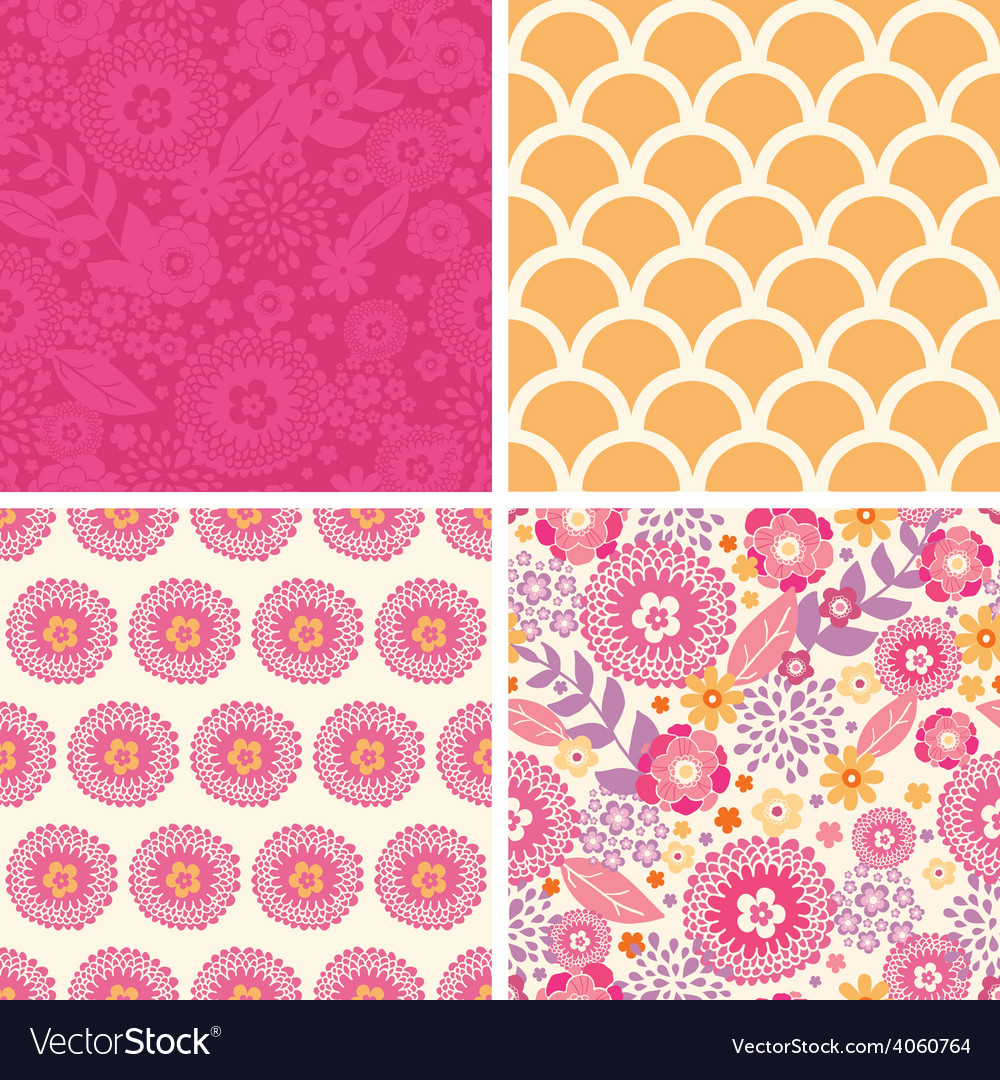 Warm summer plants set of four matching vector | Price: 1 Credit (USD $1)