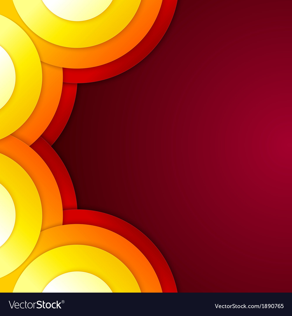 Abstract yellow orange and red paper round shapes vector | Price: 1 Credit (USD $1)