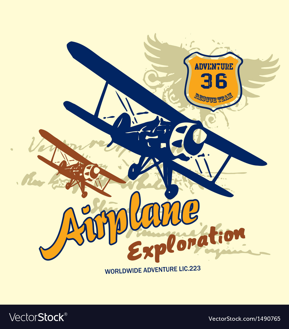 Airplane exploration vector | Price: 1 Credit (USD $1)