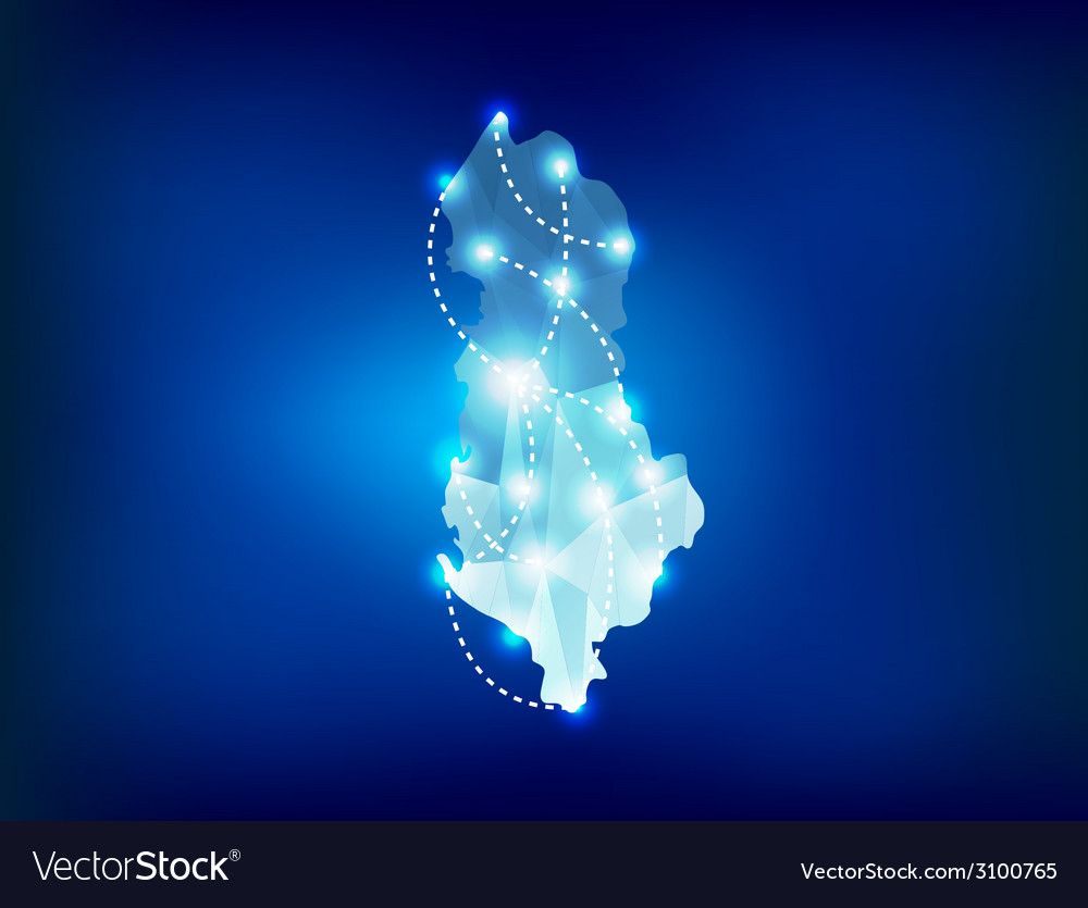 Albania country map polygonal with spot lights vector | Price: 1 Credit (USD $1)
