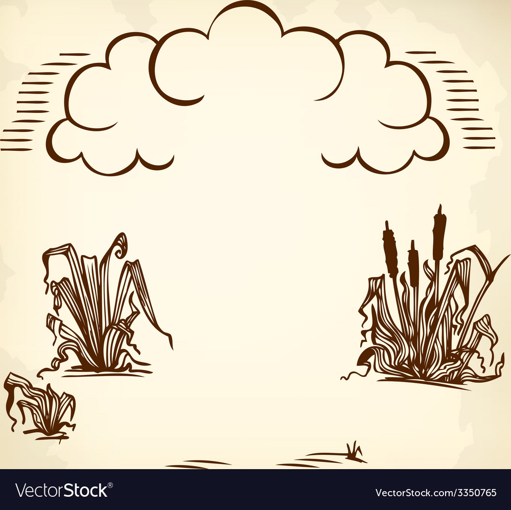 Clouds and reeds brown vector | Price: 1 Credit (USD $1)