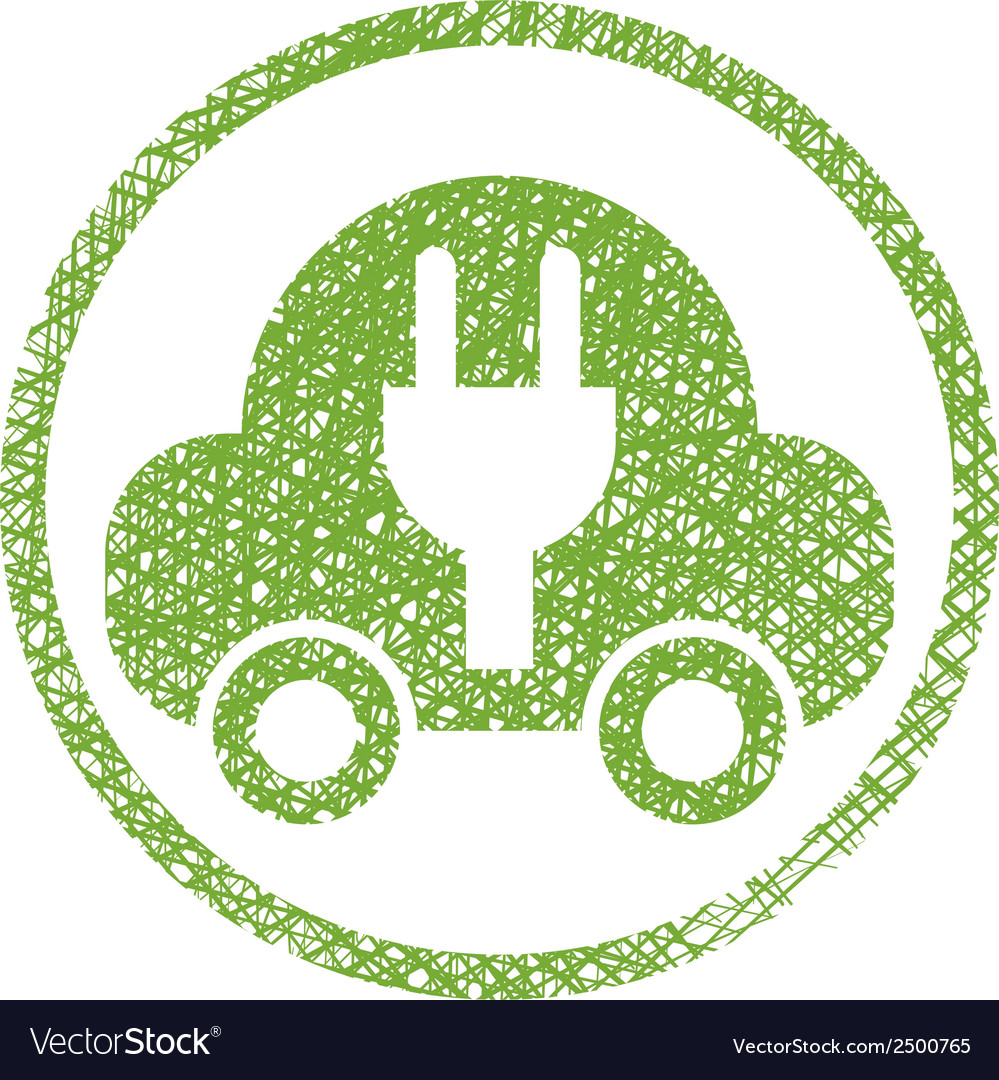 Green ecological electric car sign with hand drawn vector | Price: 1 Credit (USD $1)