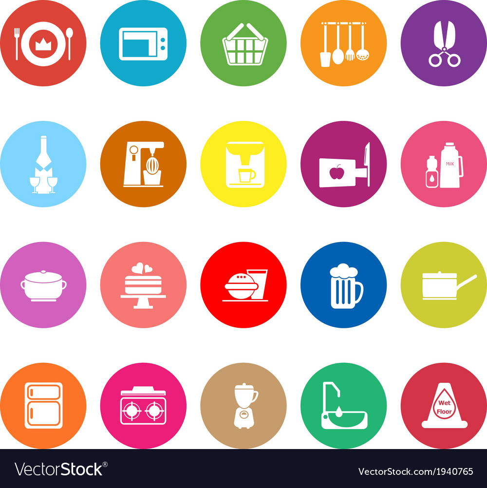 Home kitchen flat icons on white background vector   Price: 1 Credit (USD $1)