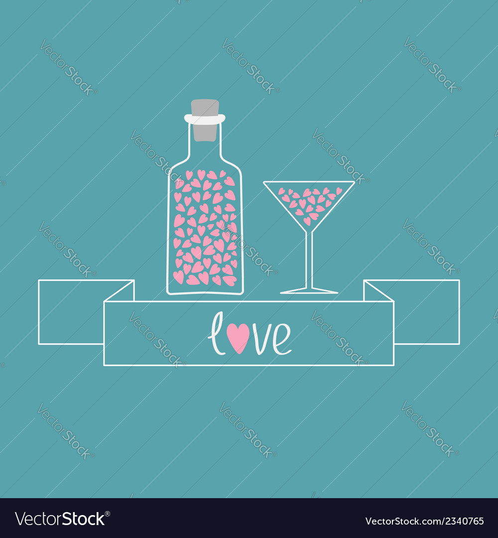 Martini glass and bottle with hearts inside ribbon vector | Price: 1 Credit (USD $1)
