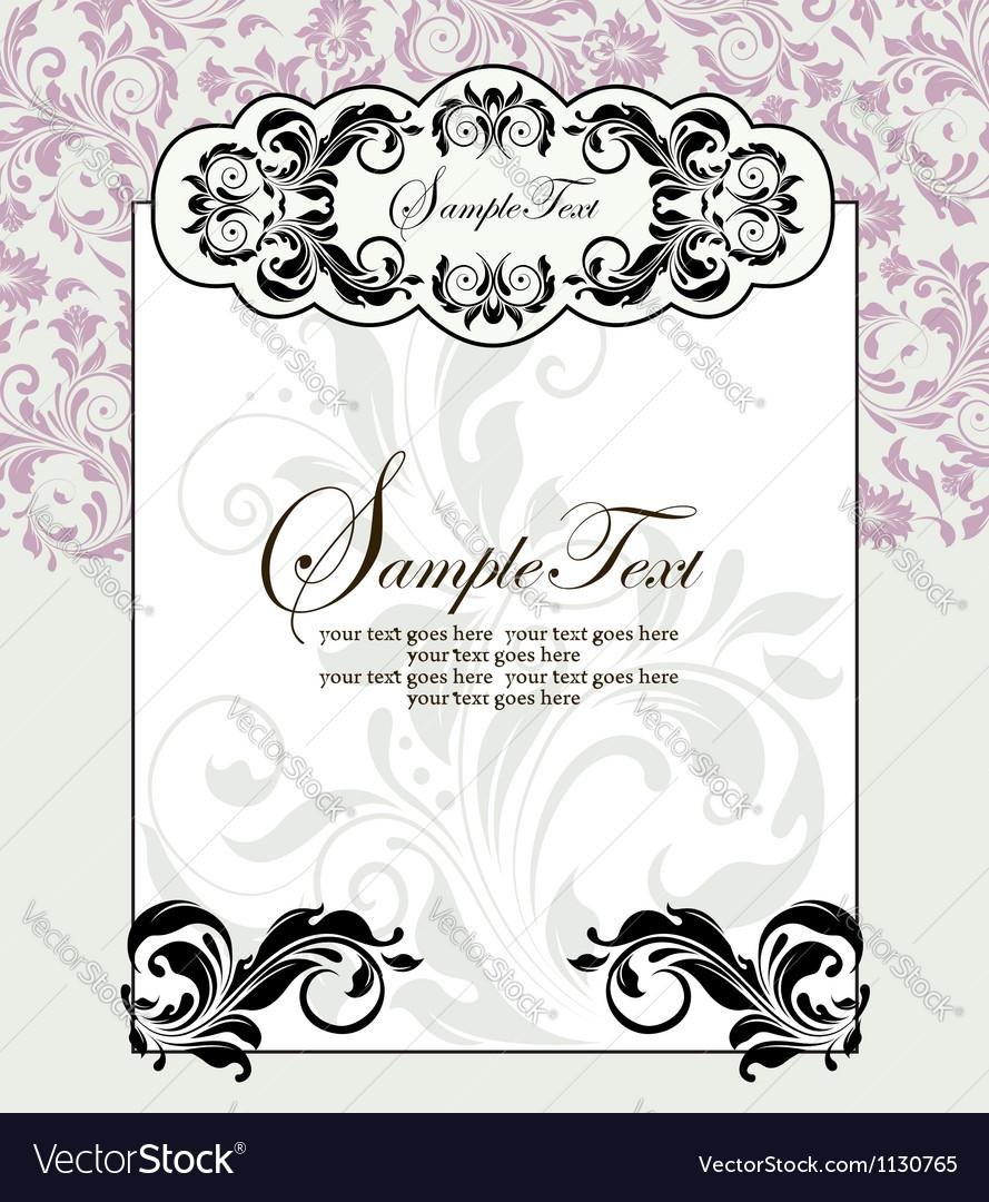 Ornate frame on purple floral background vector | Price: 1 Credit (USD $1)