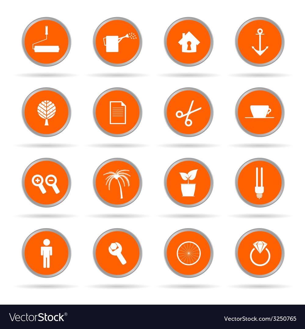 Set of icon in orange circle vector   Price: 1 Credit (USD $1)