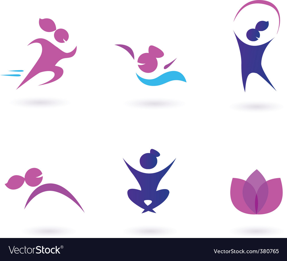 Women sport and fit icons vector | Price: 1 Credit (USD $1)