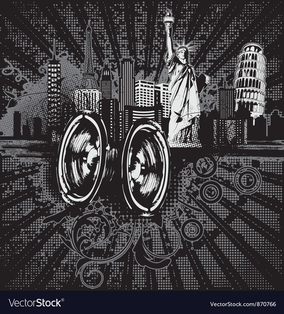 Concert poster with city and speakers vector | Price: 1 Credit (USD $1)