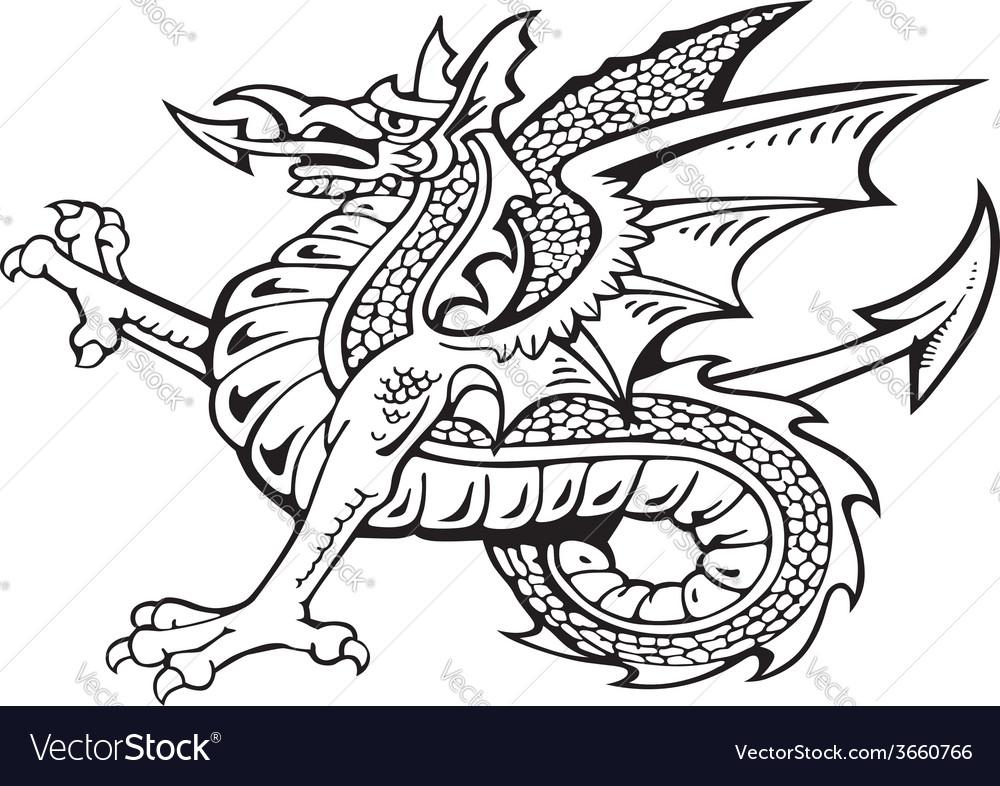 Heraldic dragon no8 vector | Price: 1 Credit (USD $1)