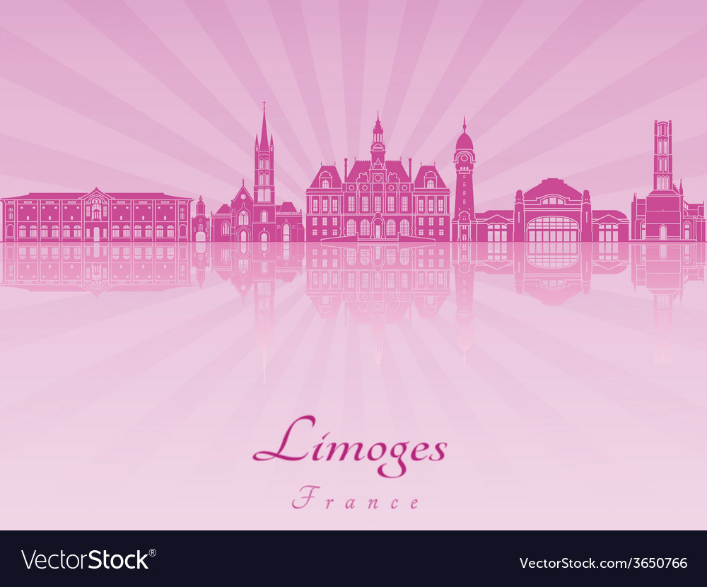 Limoges skyline in purple radiant orchid vector | Price: 1 Credit (USD $1)