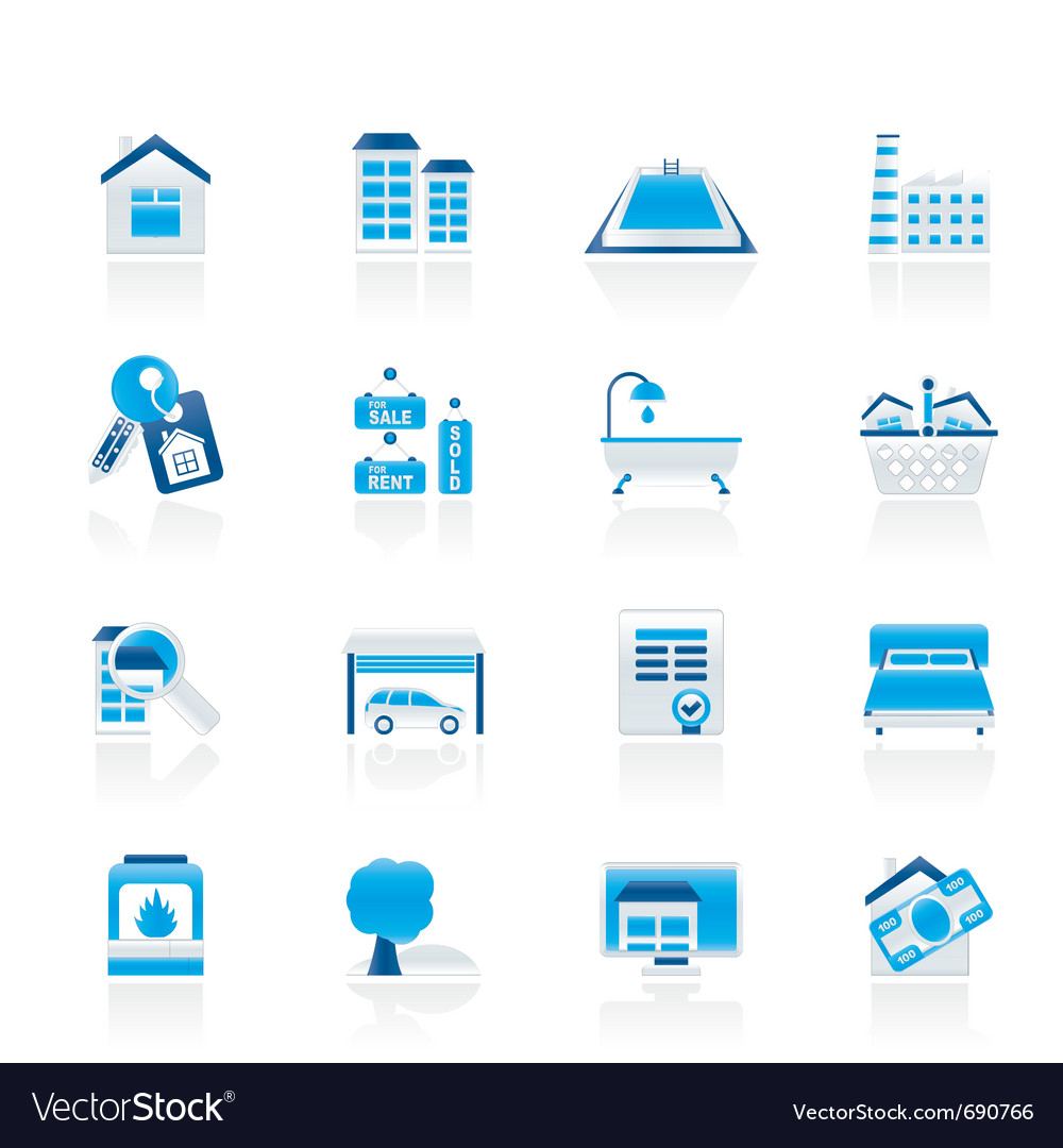Real estate objects and icons vector | Price: 1 Credit (USD $1)