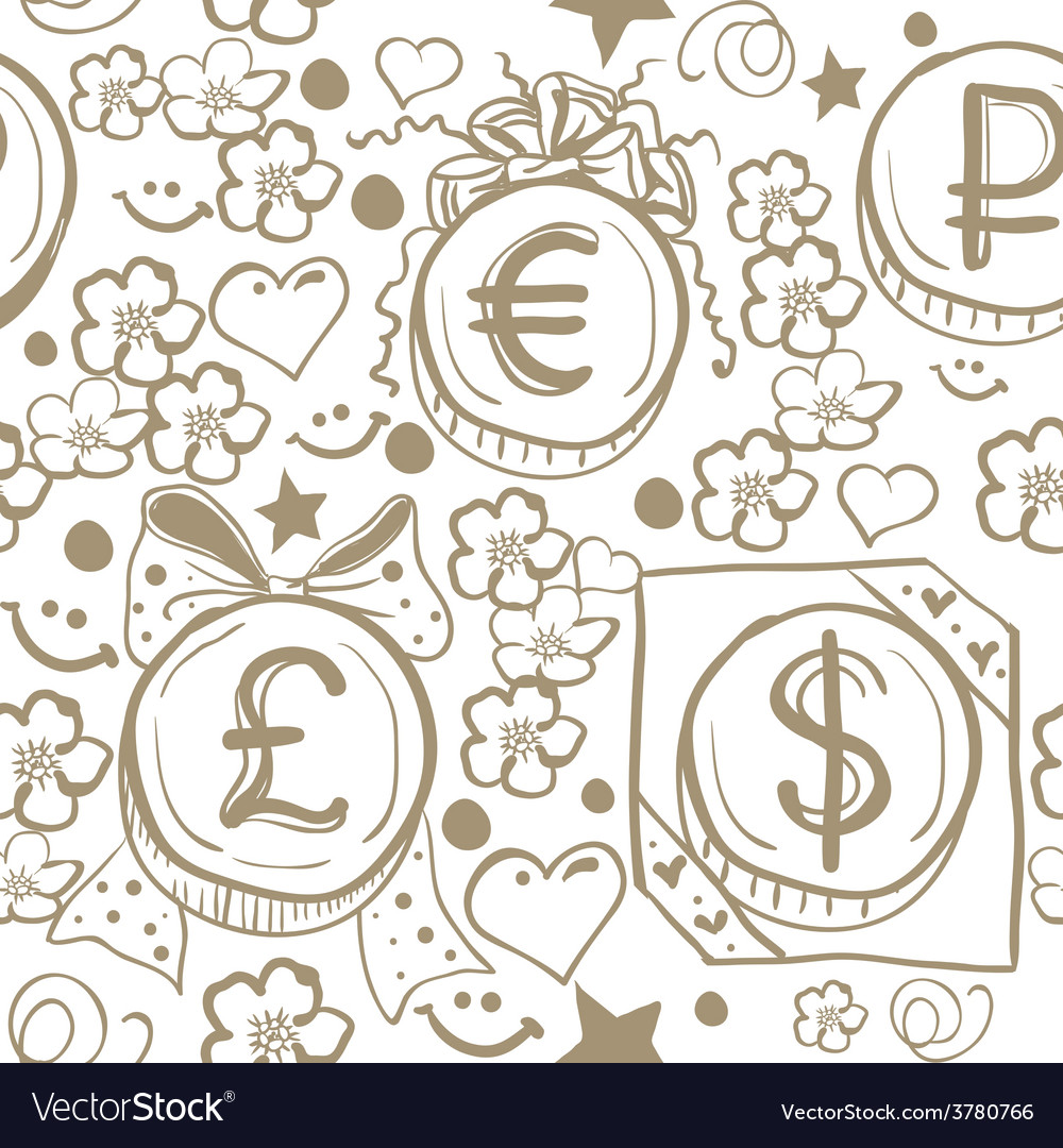 Seamless background of money symbols - dollar vector | Price: 1 Credit (USD $1)