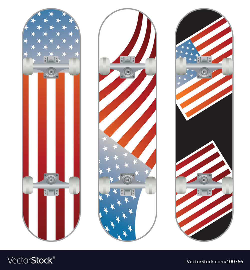 Three skateboard designs vector | Price: 1 Credit (USD $1)