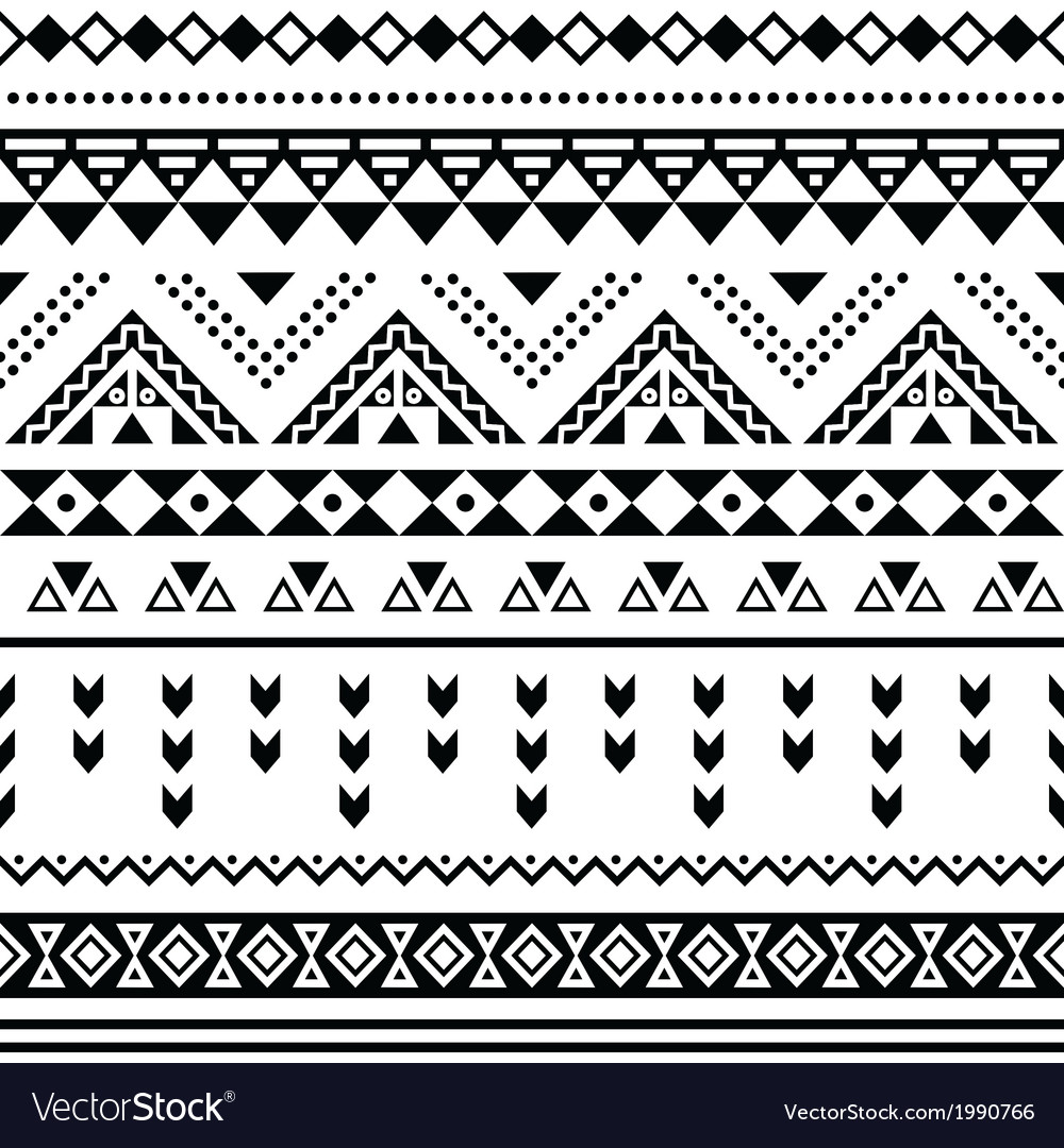 Tibal seamless pattern black aztec print on white vector | Price: 1 Credit (USD $1)
