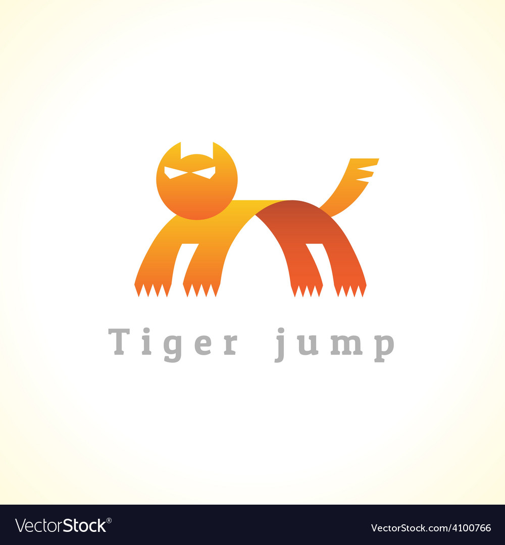Tiger in a jump stylize logo vector | Price: 1 Credit (USD $1)