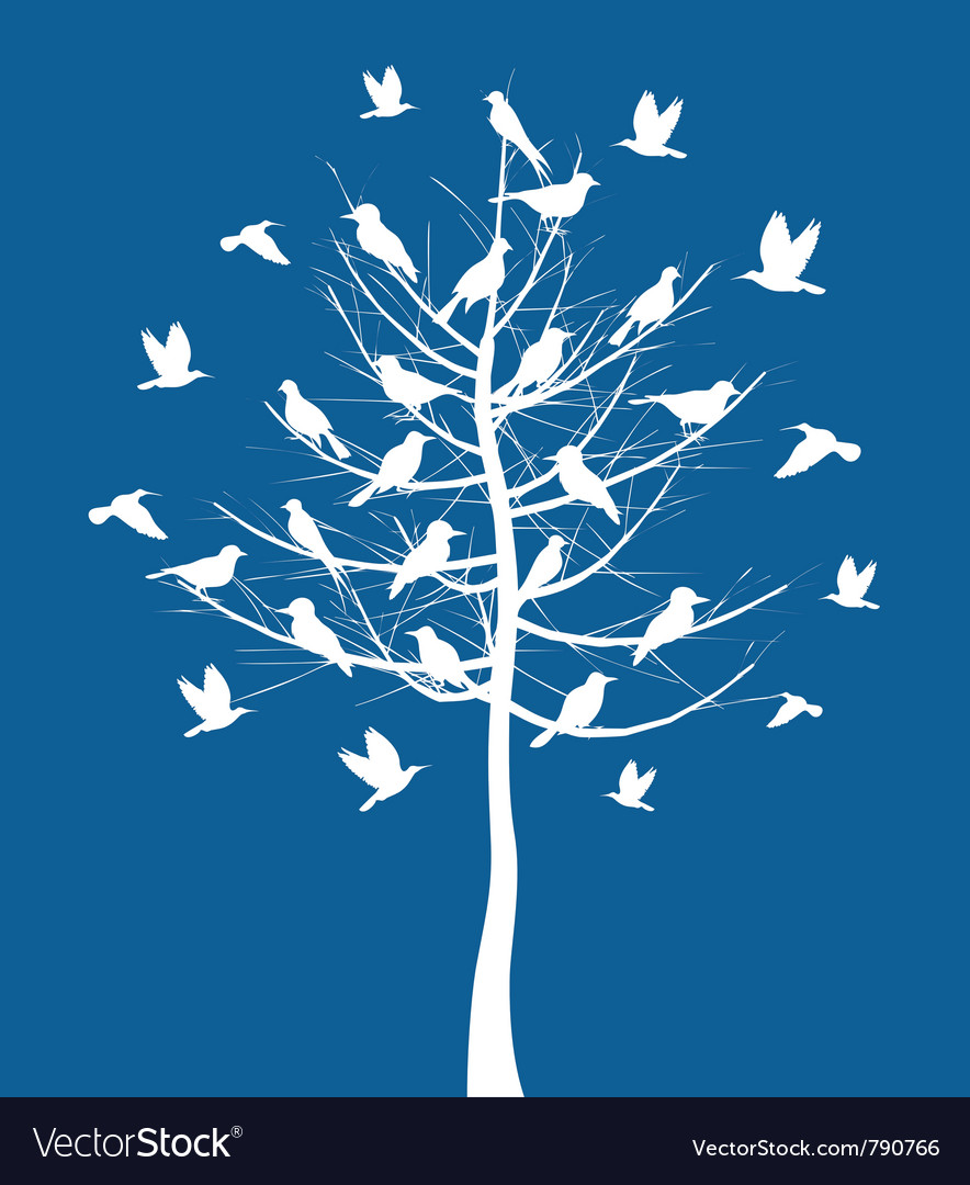 Tree birds vector | Price: 1 Credit (USD $1)