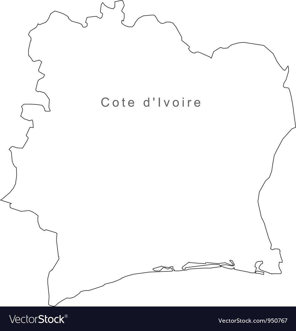 Black white cote divoire outline map vector | Price: 1 Credit (USD $1)