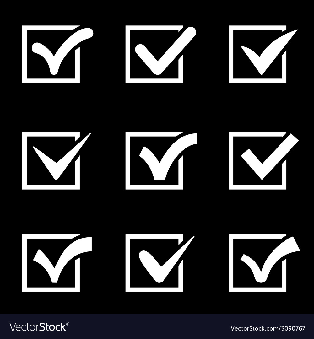 Check mark icons isolated on black background vector | Price: 1 Credit (USD $1)
