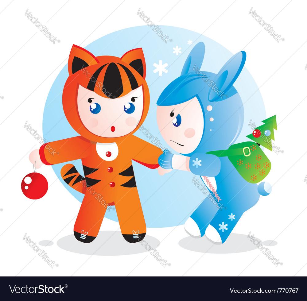 Children in costumes vector | Price: 1 Credit (USD $1)
