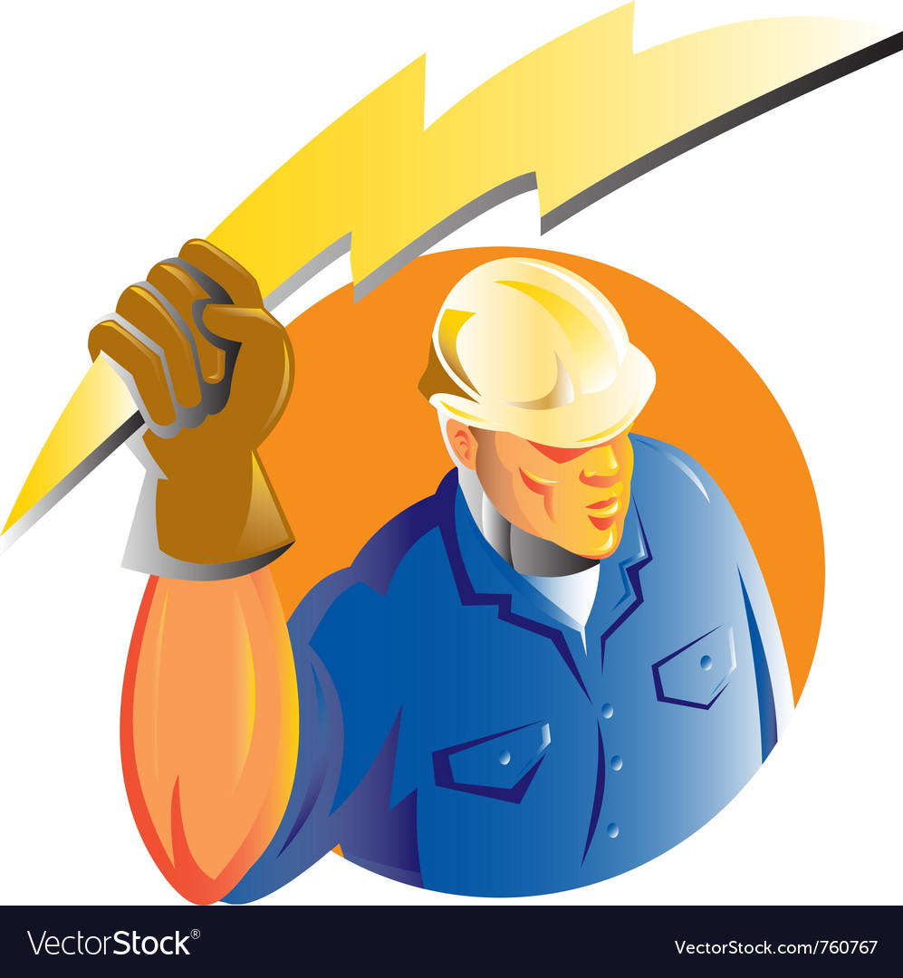 Construction worker electrician vector | Price: 1 Credit (USD $1)