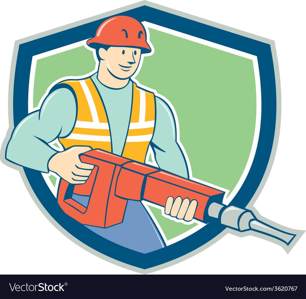 Construction worker jackhammer shield cartoon vector | Price: 1 Credit (USD $1)