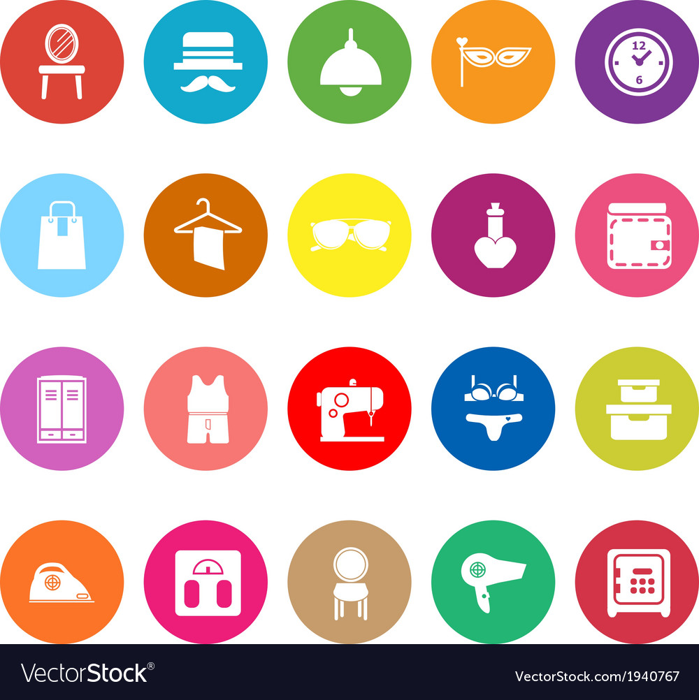Dressing room flat icons on white background vector | Price: 1 Credit (USD $1)