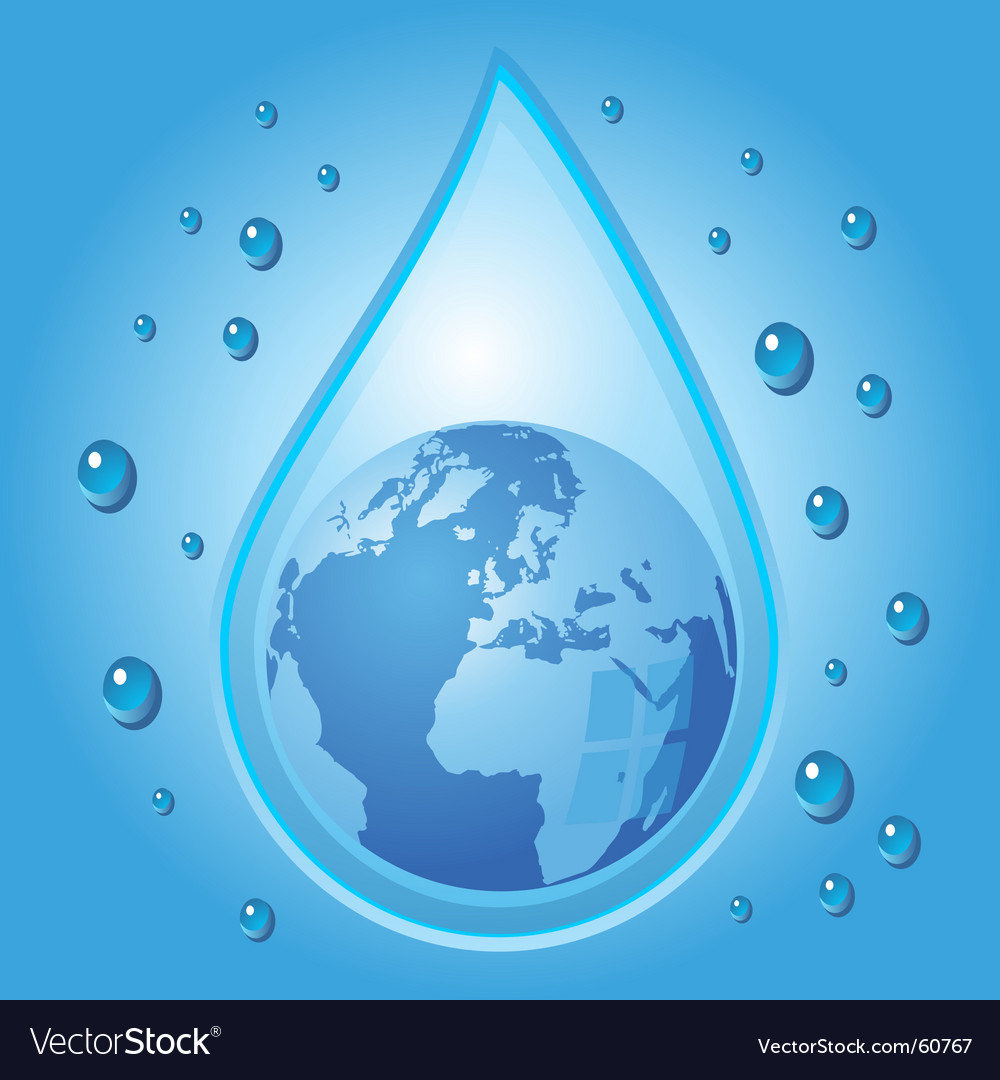 Globe inside water drop vector | Price: 1 Credit (USD $1)