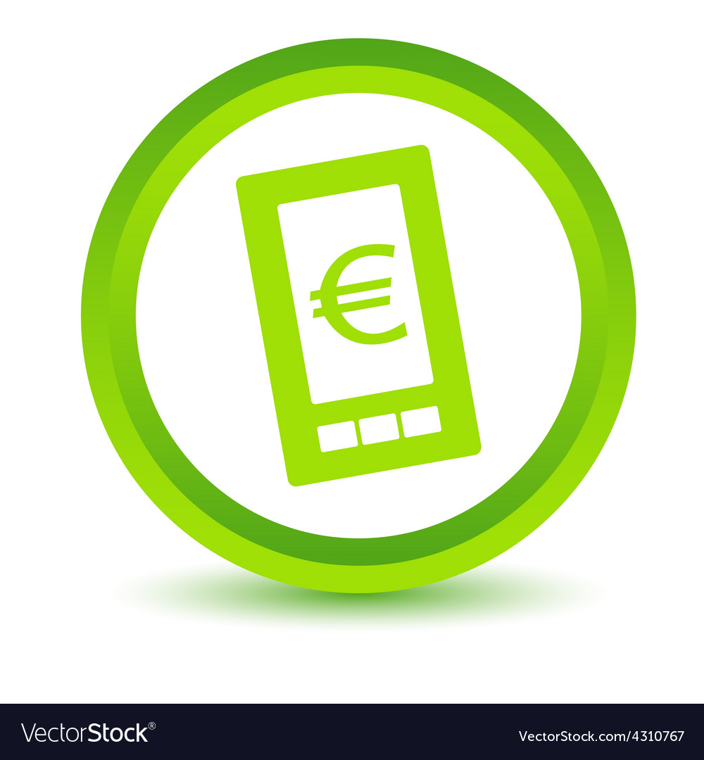 Green euro phone icon vector | Price: 1 Credit (USD $1)