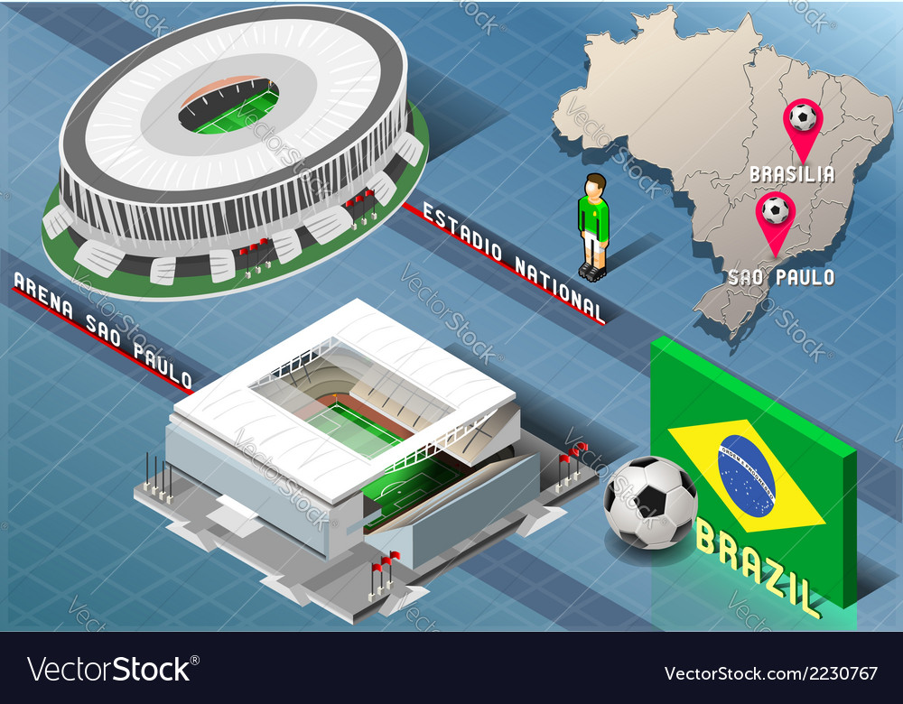 Isometric stadium of brasilia and sao paulo brazil vector | Price: 1 Credit (USD $1)