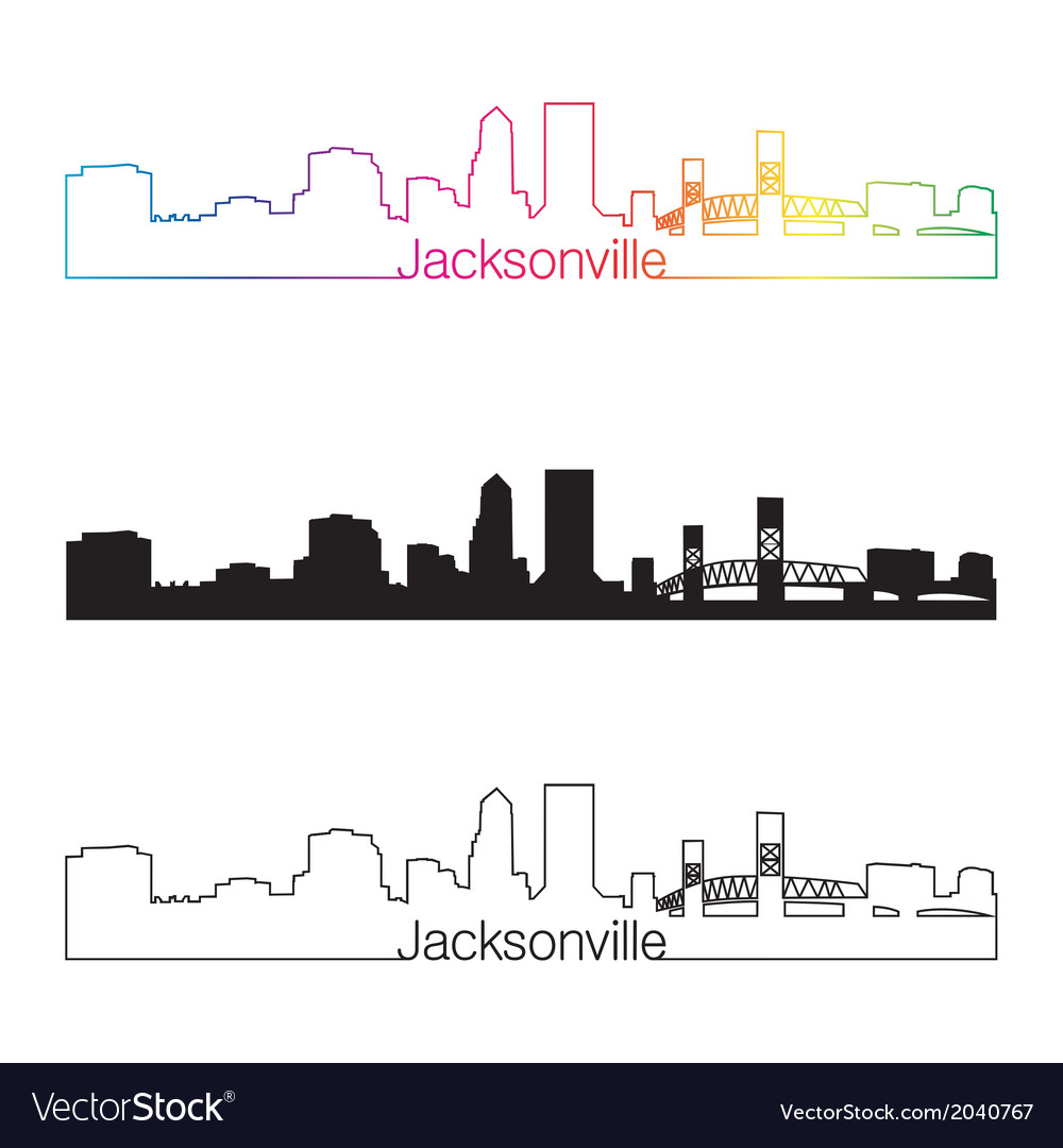 Jacksonville skyline linear style with rainbow vector | Price: 1 Credit (USD $1)