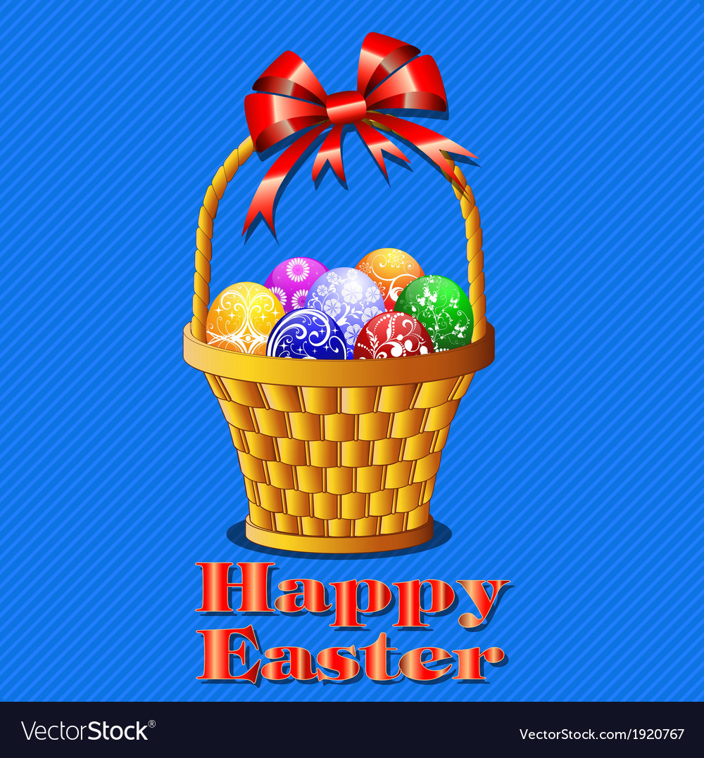 Postcard with easter eggs in the basket on a blue vector | Price: 1 Credit (USD $1)