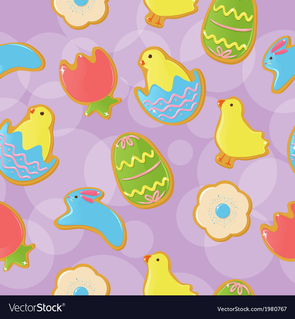 Seamless easter cookie background vector | Price: 1 Credit (USD $1)