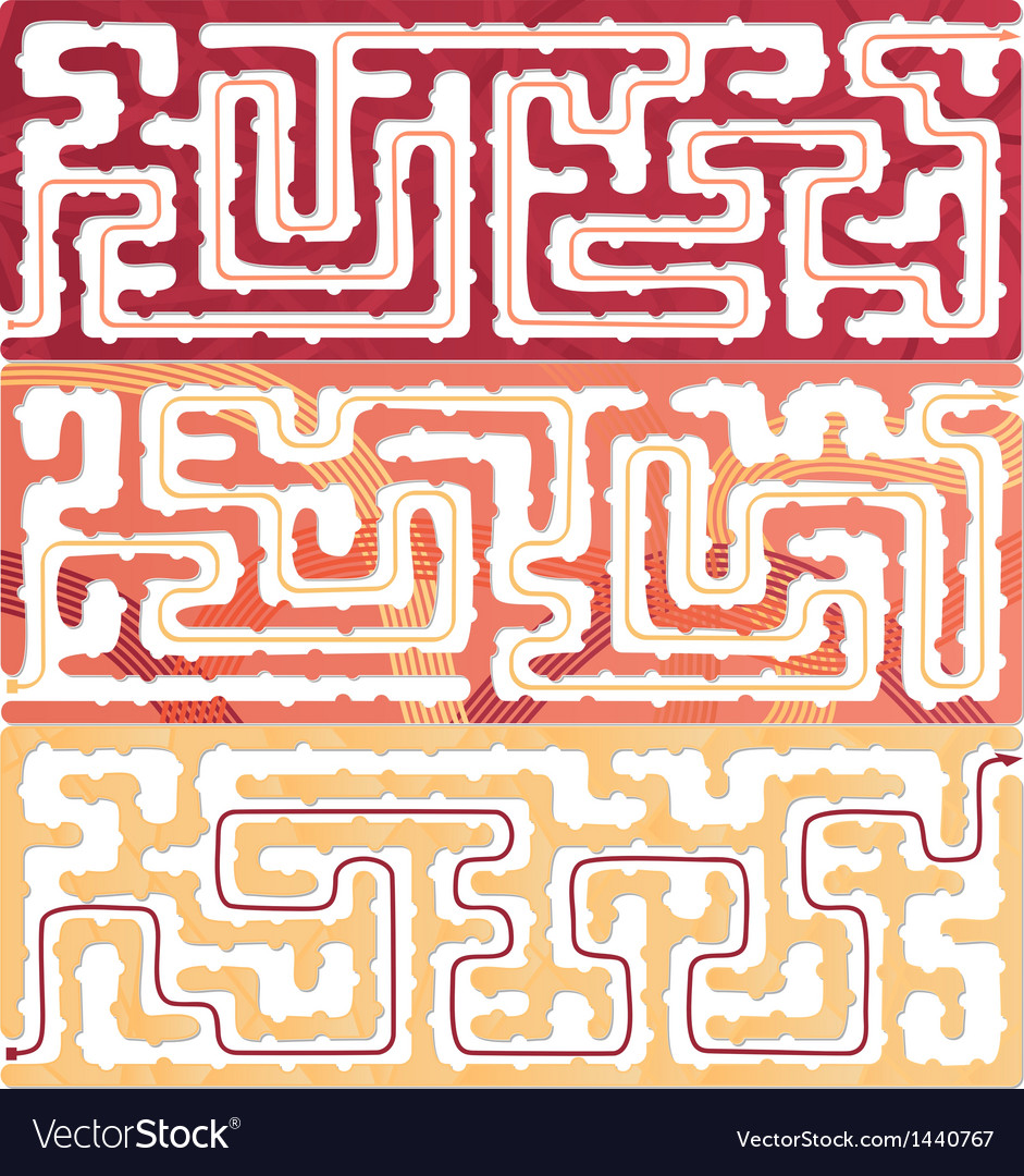 Set of maze for kids with answer vector | Price: 1 Credit (USD $1)
