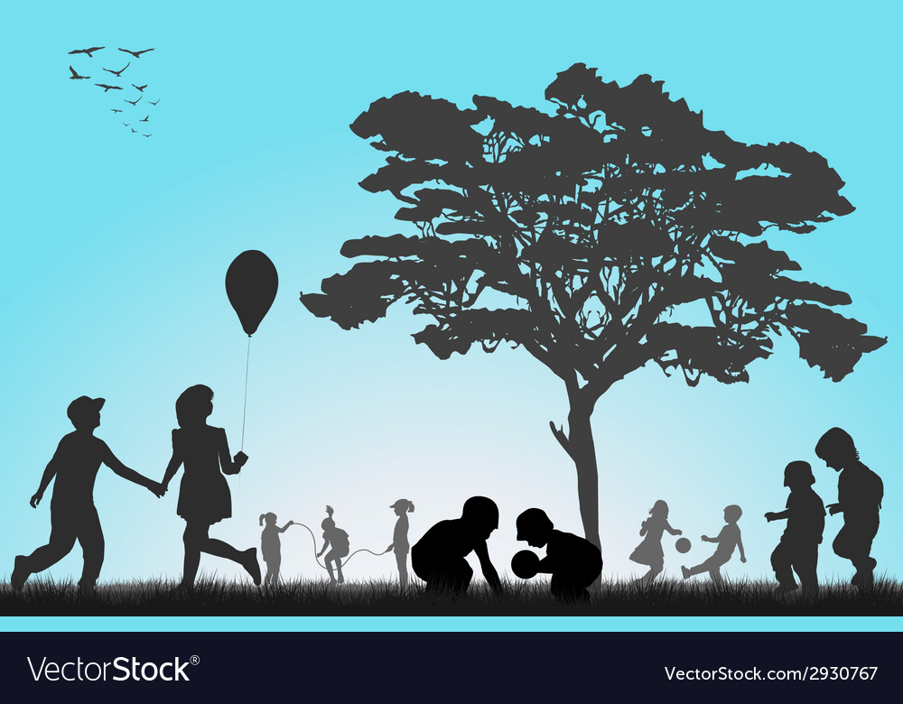 Silhouettes of children playing outside vector | Price: 1 Credit (USD $1)